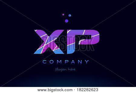 Xp X P  Colored Blue Pink Purple Alphabet Letter Logo Icon Vector