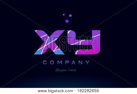 Xy X Y  Colored Blue Pink Purple Alphabet Letter Logo Icon Vector