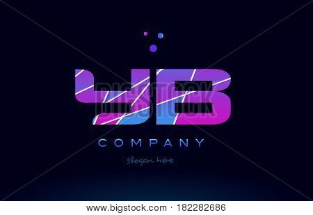 Yb Y B  Colored Blue Pink Purple Alphabet Letter Logo Icon Vector