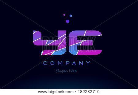 Ye Y E  Colored Blue Pink Purple Alphabet Letter Logo Icon Vector