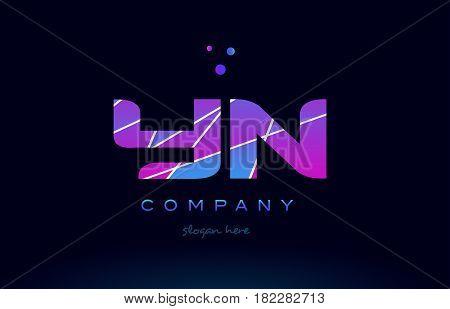 Yn Y N  Colored Blue Pink Purple Alphabet Letter Logo Icon Vector