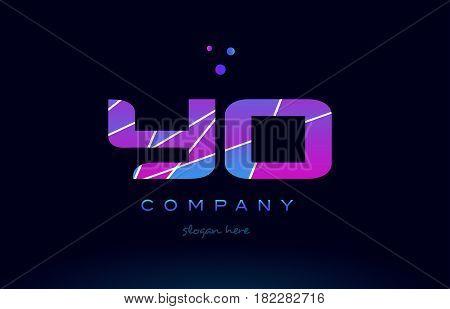 Yo Y O  Colored Blue Pink Purple Alphabet Letter Logo Icon Vector