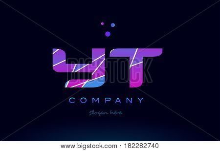 Yt Y T  Colored Blue Pink Purple Alphabet Letter Logo Icon Vector