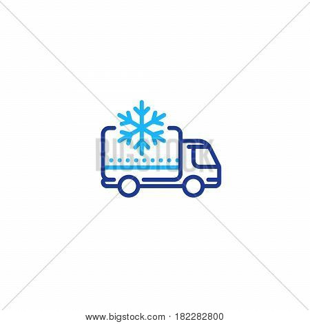 Fridge truck, ice cream van, delivery vehicle services, freezer, vector mono line icon