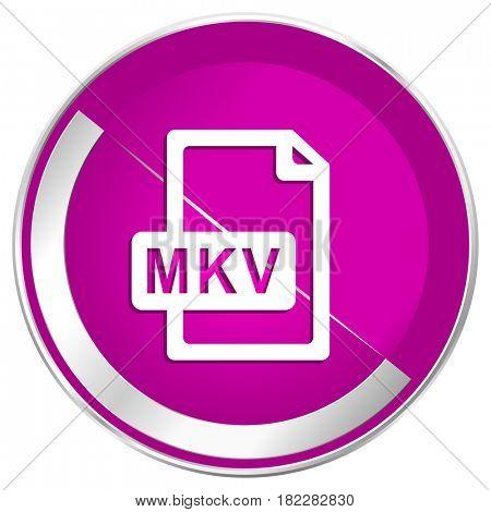 Mkv file web design violet silver metallic border internet icon.
