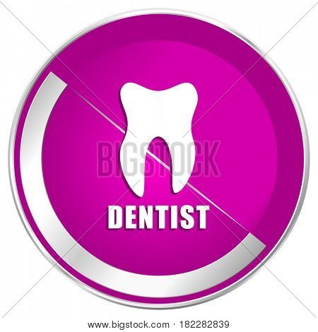 Dentist web design violet silver metallic border internet icon.