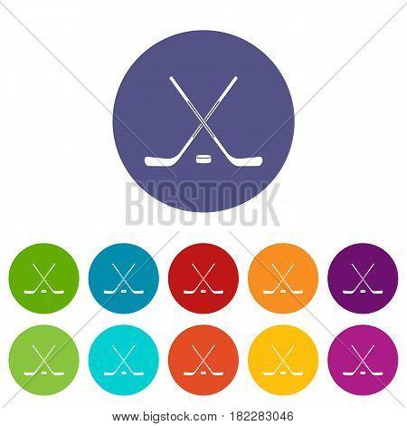 Ice hockey sticks icons set in circle isolated flat vector illustration