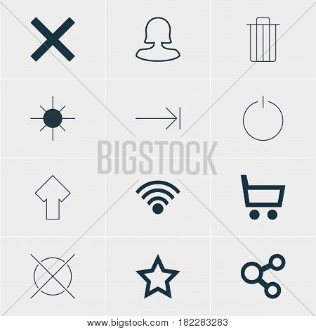 Vector Illustration Of 12 Member Icons. Editable Pack Of Female User, Wrong, Upward And Other Elements.