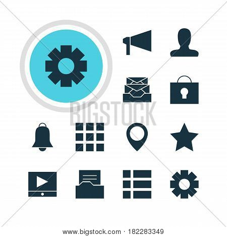 Vector Illustration Of 12 Internet Icons. Editable Pack Of Grid, Account, Document Directory And Other Elements.