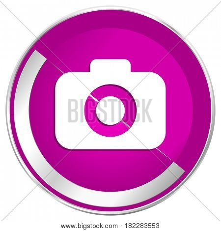 Photo camera web design violet silver metallic border internet icon.