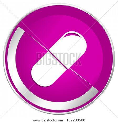 Drugs web design violet silver metallic border internet icon.