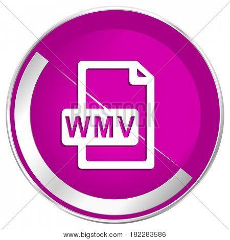 Wmv file web design violet silver metallic border internet icon.