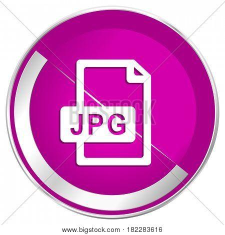 Jpg file web design violet silver metallic border internet icon.
