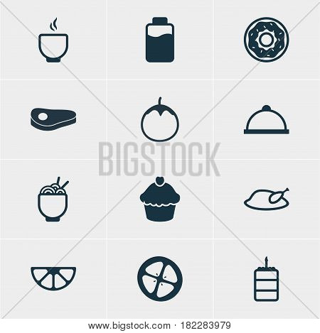 Vector Illustration Of 12 Food Icons. Editable Pack Of Love Apple, Lime, Eggplant And Other Elements.