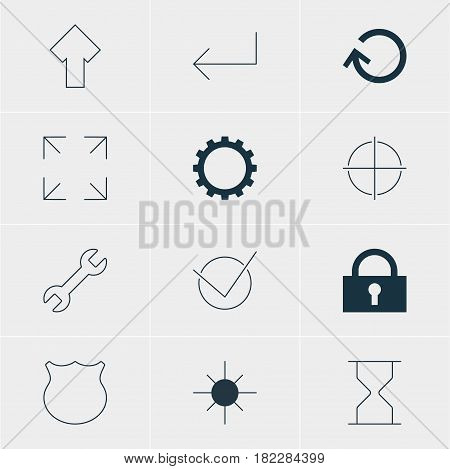 Vector Illustration Of 12 Interface Icons. Editable Pack Of Guard, Full Brightness, Accsess And Other Elements.