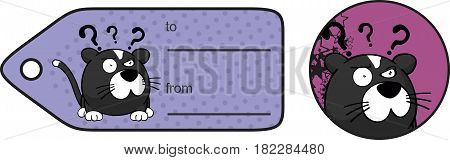 funny cat ball cartoon expression giftcard in vector format