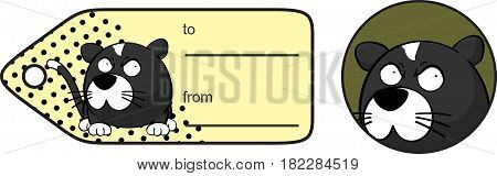 grumpy little cat ball cartoon expression giftcard in vector format