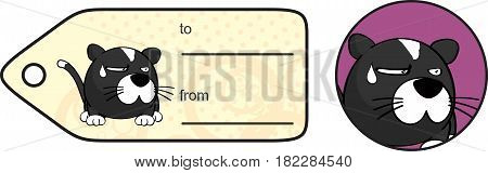 incredulous little cat ball cartoon expression giftcard in vector format