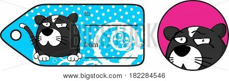 funny little cat ball cartoon expression giftcard in vector format