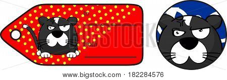 angry little cat ball cartoon expression giftcard in vector format