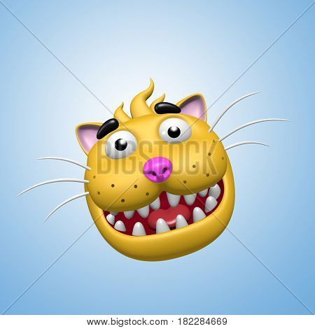 Funny smiling cat face. 3D illustration. Funny cool emoticon character. Cheerful pet for web icons and t-shirt.