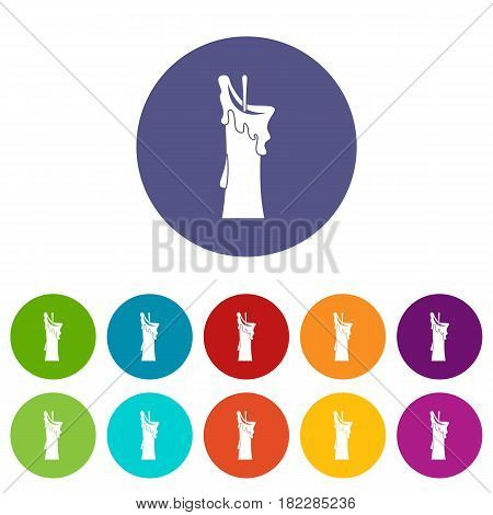 Thick candle icons set in circle isolated flat vector illustration