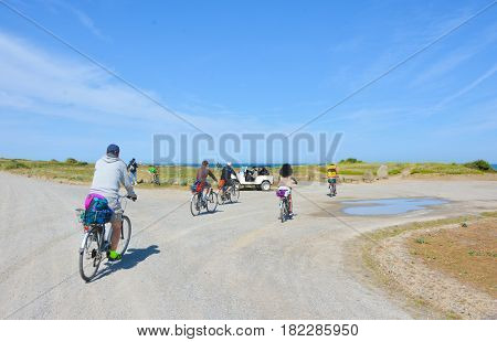 Group of cyclists riding bicycles along the seaside