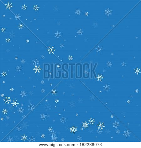 Sparse Snowfall. Abstract Mess On Blue Background. Vector Illustration.