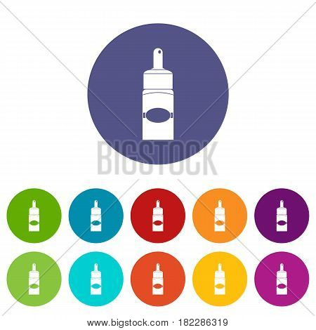 Medical drops icons set in circle isolated flat vector illustration