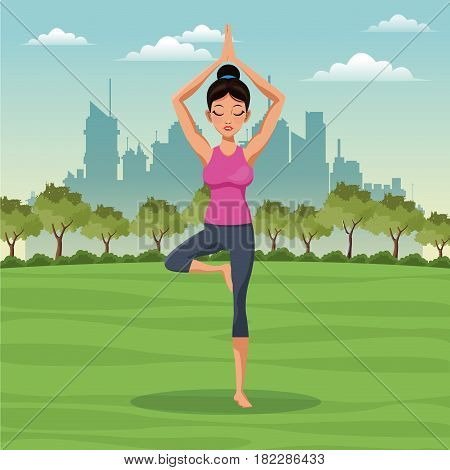 woman posture yoga with park background vector illustration eps 10
