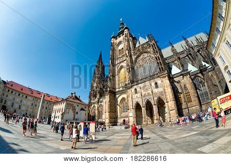 PRAGUE CZECH REPUBLIC - SEPTEMBER 07 2016: People at St Vitus Cathedral in Prague Castle complex.