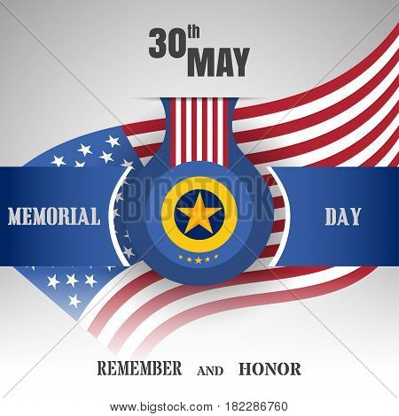 Memorial Day vector poster with medal and blue ribbon cut from paper shadow and text on the gradient gray background with usa flag.