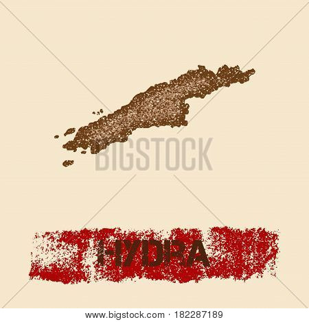 Hydra Distressed Map. Grunge Patriotic Poster With Textured Island Ink Stamp And Roller Paint Mark,