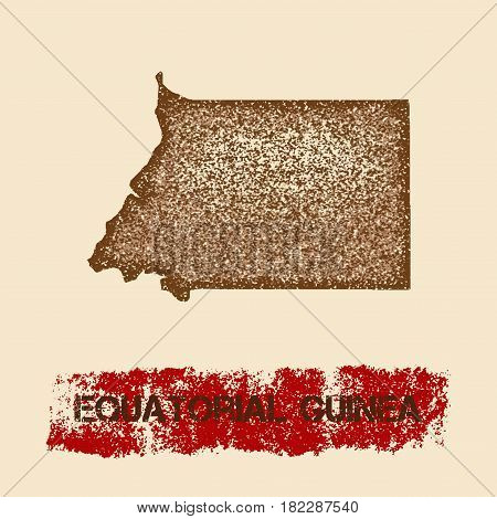 Equatorial Guinea Distressed Map. Grunge Patriotic Poster With Textured Country Ink Stamp And Roller