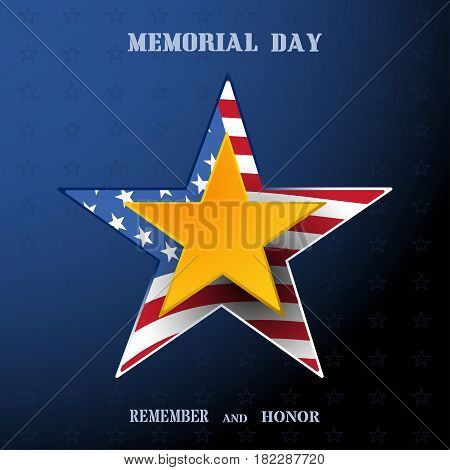 Vector poster of Memorial Day with gold star shadow and text on the dark blue gradient background with usa flag.