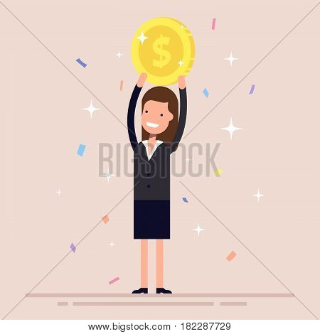 Businesswoman or manager holds a gold coin over his head. The girl in the business suit won the prize. Confetti and tinsel. Flat character isolated on background