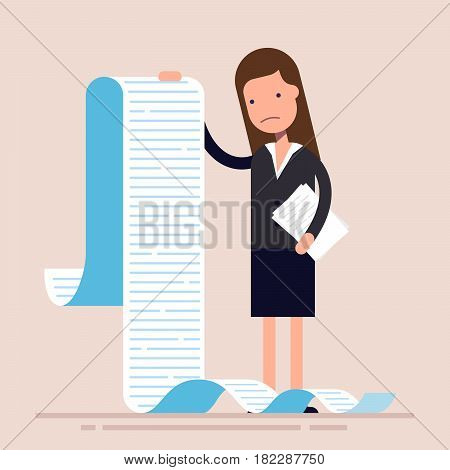 Businesswoman or manager, hold a long list or scroll of tasks. or questionnaire. Woman in a business suit. Flat character. Vector illustration.