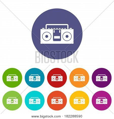 Vintage tape recorder for audio cassettes icons set in circle isolated flat vector illustration