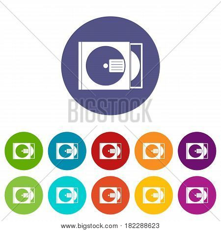 CD box with disc icons set in circle isolated flat vector illustration
