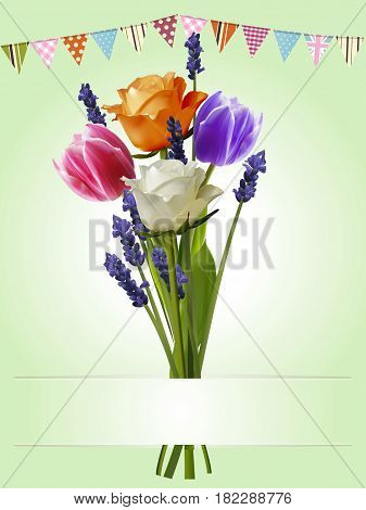 3D Illustration of a Bunch of Roses Tulips and Lavender with Buntings and Copy Space Banner