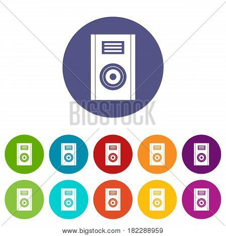 Vinyl record icons set in circle isolated flat vector illustration
