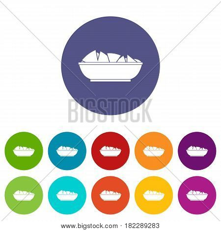Nachos in bowl icons set in circle isolated flat vector illustration