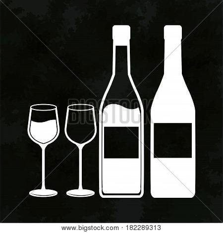 wine bottles and glassware image vector illustration eps 10