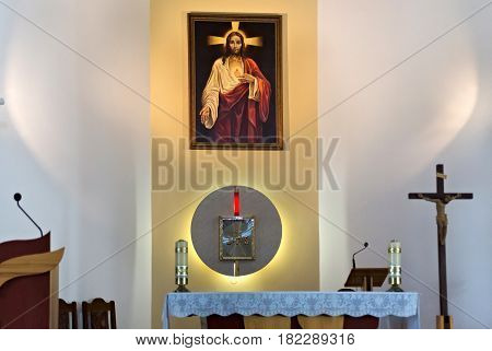 PETROPAVL, KAZAKHSTAN - JULY 24, 2015: Interior of The Roman Catholic Church of the Most Sacred Heart of Jesus in Petropavl. The number of Catholics in the country is less than two percent.