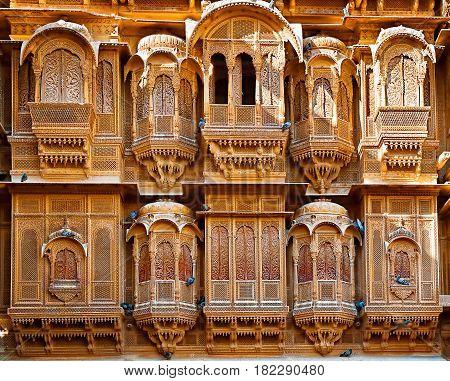 The beautiful Patwon ki Haveli palace made of golden limestone in Jaisalmer India.