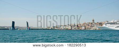 Istanbul Galata Tower ship and drawbridge. Panorama