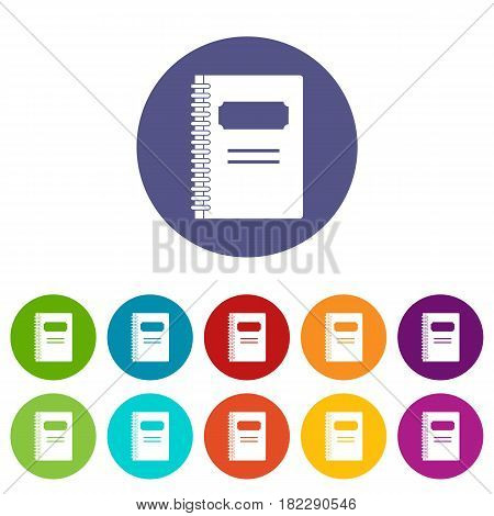 Paper sheet with text qwerty icons set in circle isolated flat vector illustration