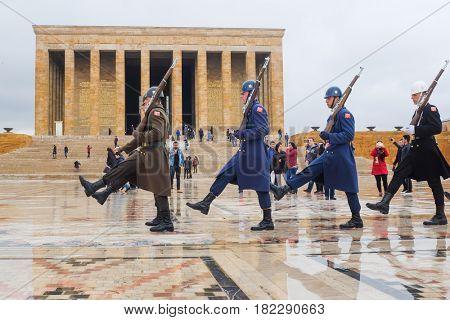 ANKARA, TURKEY - APRIL 08, 2017: Guard shift ceremony  in Anitkabir, Mausoleum of Ataturk - Ankara, Turkey