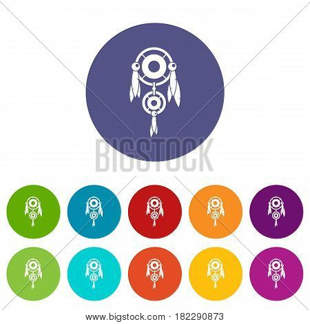 Native american dreamcatcher icons set in circle isolated flat vector illustration