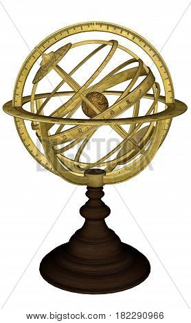 Antique celestial sphere isolated in white background - 3D render